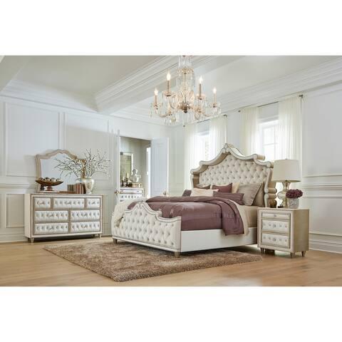 Justine Ivory and Camel 5-piece Upholstered Tufted Bedroom Set