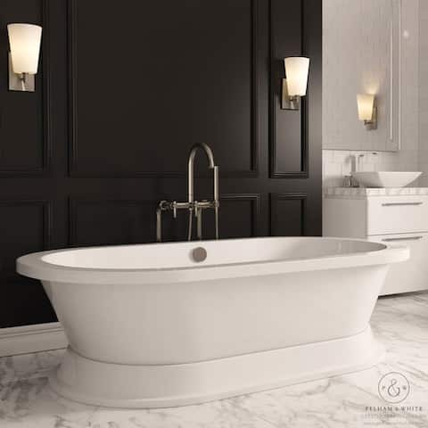 Pelham & White Luxury 67 Inch Modern Pedestal Tub with Nickel Drain