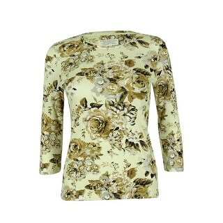Charter Club Women's 3/4 Sleeve Floral Print Top - warm toffee combo