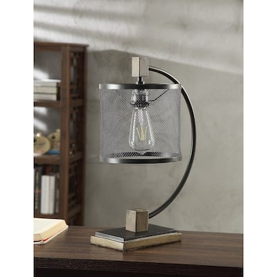Metal and Wood Arc Desk Lamp with Metal Mesh Shade