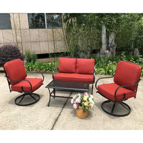 Moda New Steel Patio Chat Set with Table and Swivel Chairs 4PCS
