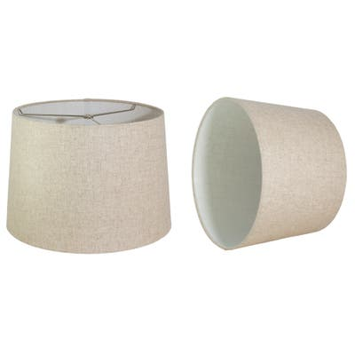 French Drum Lamp Shade, Textured Linen, 14 inch Top, 16 inch Bottom, 11 inch Slant