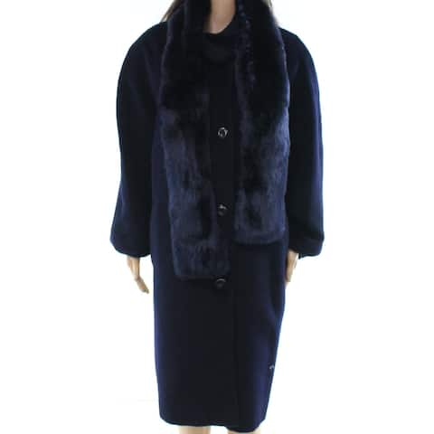 Jones York Blue Womens Size 22W Plus 2pc Faux-Fur Jacket