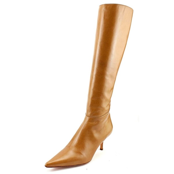 Valentino Garavani Carson Women Pointed Toe Leather Tan Knee High Boot