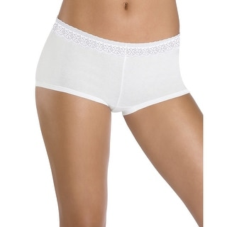 Hanes Women's Cotton Stretch Boy Brief with ComfortSoft Lace Waistband 3-Pack - 7