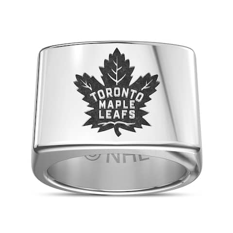 Toronto Maple Leafs Logo Engraved Ring In Sterling Silver