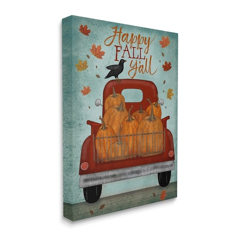 Stupell Industries Happy Fall Y'all Autumn Harvest Red Truck Canvas Wall Art - Multi-Color