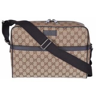 Gucci 449173 Beige Canvas GG Guccissima Camera Case Messenger Bag