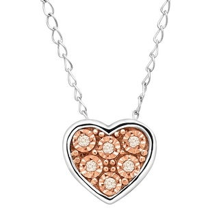 Teeny Tiny Heart Pendant with Champagne Diamonds in Sterling Silver
