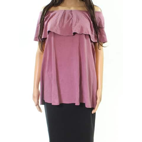 B Curvy By Bobeau Purple Womens Size 2X Plus Off The Shoulder Blouse