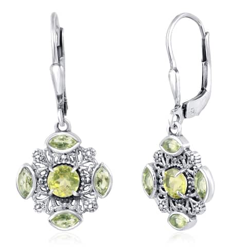 Citrine, Peridot Sterling Silver Round, Marquise Dangle Earrings by Orchid Jewelry
