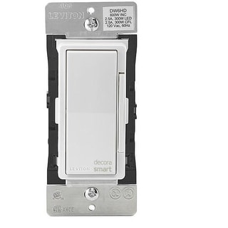 Leviton DW6HD-1BZ Decora Smart Wi-Fi 600W Incandescent / 300W LED Dimmer - White
