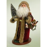 "19"" Swaying Santa Claus Trimmed in Faux Fur Christmas Table Top Decoration - RED"
