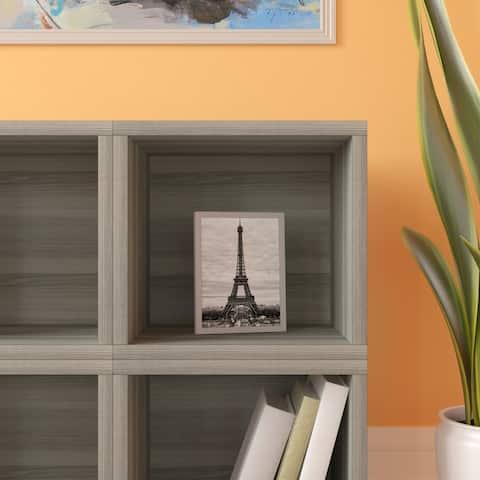 Way Basics Modular Connect Open Cube Cubby Storage Stackable Closet Organizer Display Shelf, Grey