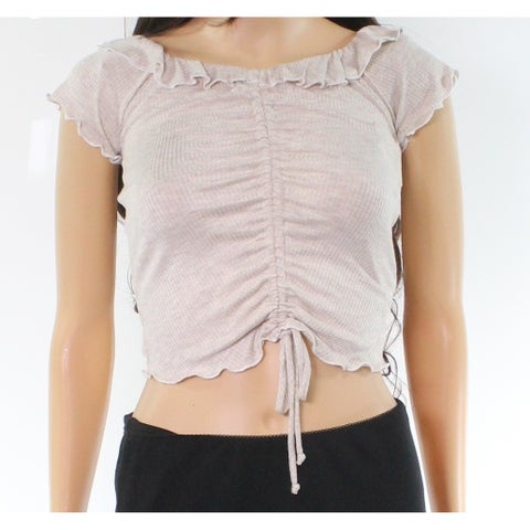 Moa Moa Ruffled Lettuce Cinched Large Junior Knit Crop Top