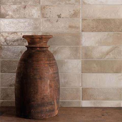 """SomerTile Kings Raku Cream 16"""" x 8"""" Ceramic Wall Tile"""