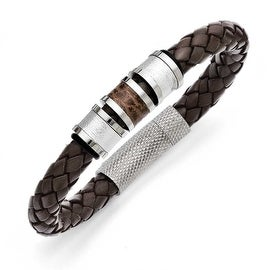 Chisel Stainless Steel Polished Brown Leather Black Rubber Bracelet