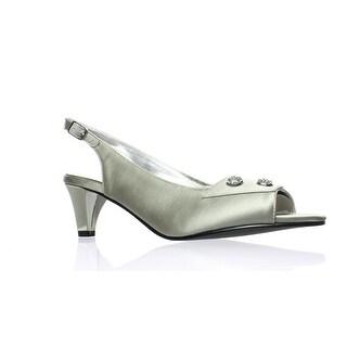 David Tate Womens Party-040 Silver Peep Toe Heels Size 11 (AA,N)