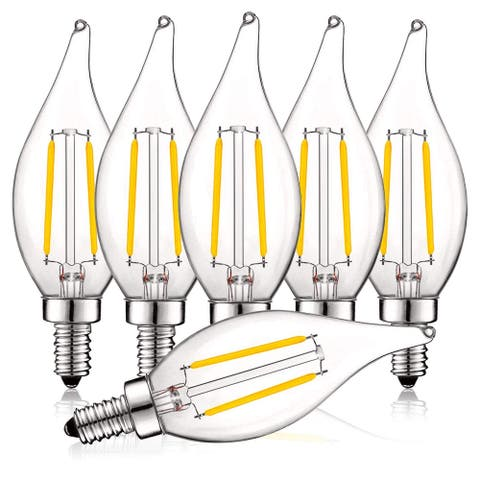 Luxrite 4W Vintage Candelabra LED Bulbs Dimmable, 400 Lumens, 40W Equivalent, Flame Tip Clear Glass, E12 Base (6 Pack)
