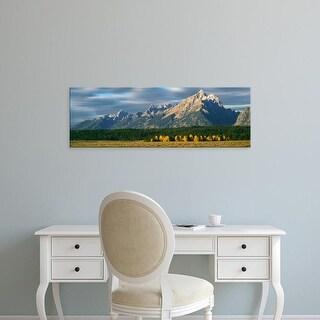 Easy Art Prints Panoramic Image 'Clouds over mountains, Teton Range, Grand Teton National Park, Wyoming' Canvas Art