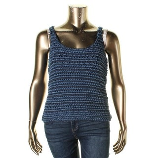 Lauren Ralph Lauren Womens Tank Top Sweater Open Stitch Bateau Neck