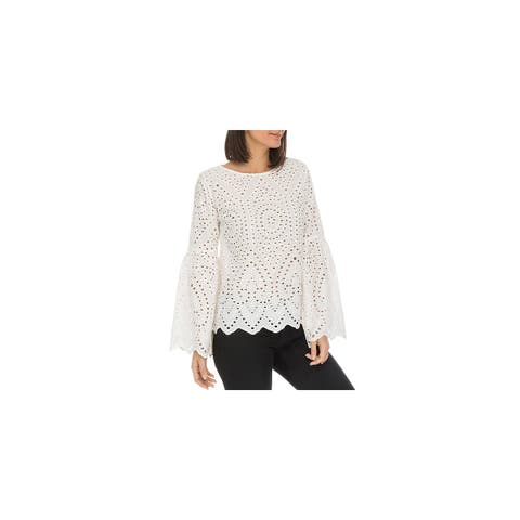 Bobeau Womens Tessa Blouse Eyelet Bell Sleeves