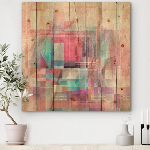 Designart 'Mimimalistic Pink And Blue Geometric Impression' Modern Print on Natural Pine Wood
