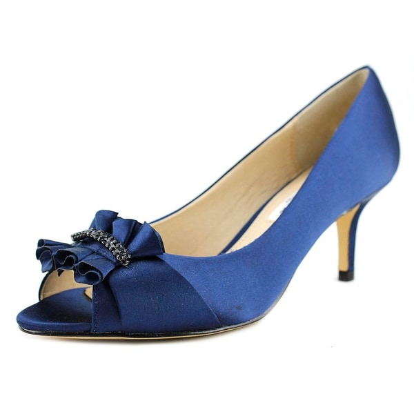 Nina Carinne Women Peep-Toe Canvas Blue Heels