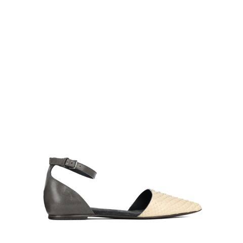 Brunello Cucinelli Women Grey Leather Python Embossed Sandals ~RTL$1130