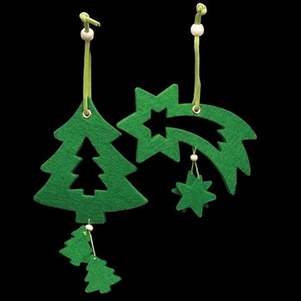 Club Pack of 18 Brilliant Green Tree And Shooting Star Felt Ornaments