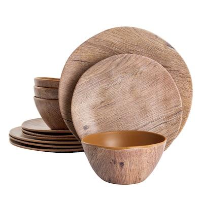 Gibson Home Woodfern 12 Piece Round Melamine Dinnerware Set in Brown