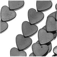 Hematite 6mm Flat Heart Beads Metallic Gray / 15.5 Inch Strand