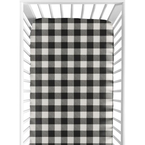 Sweet Jojo Designs Black and White Rustic Woodland Flannel Buffalo Plaid Check Unisex Boy or Girl Collection Fitted Crib Sheet