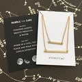 Honeycat Double Layer Bar Necklace (Delicate Jewelry) - Thumbnail 2