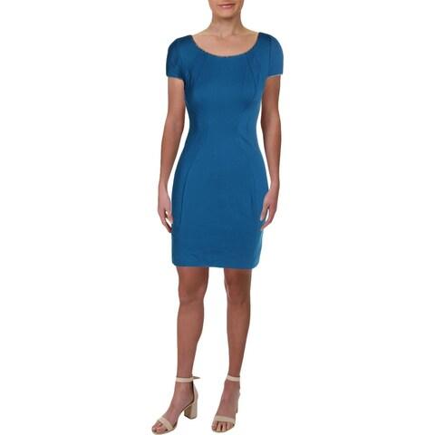 T Tahari Womens Pepita Mini Dress Metallic-Trim