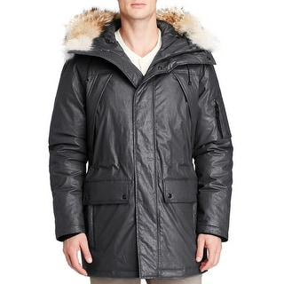 Sam. Altitude Duck Down Jacket Large L Carbon Black With Fur Trimmed Hood