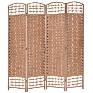 Costway 67'' Folding Woven Room Divider 4 Hinged Panel Privacy Screen Freestanding Natural