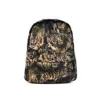 Roberto Cavalli Mens Black Green Tiger  Canvas Zip Around Backpack