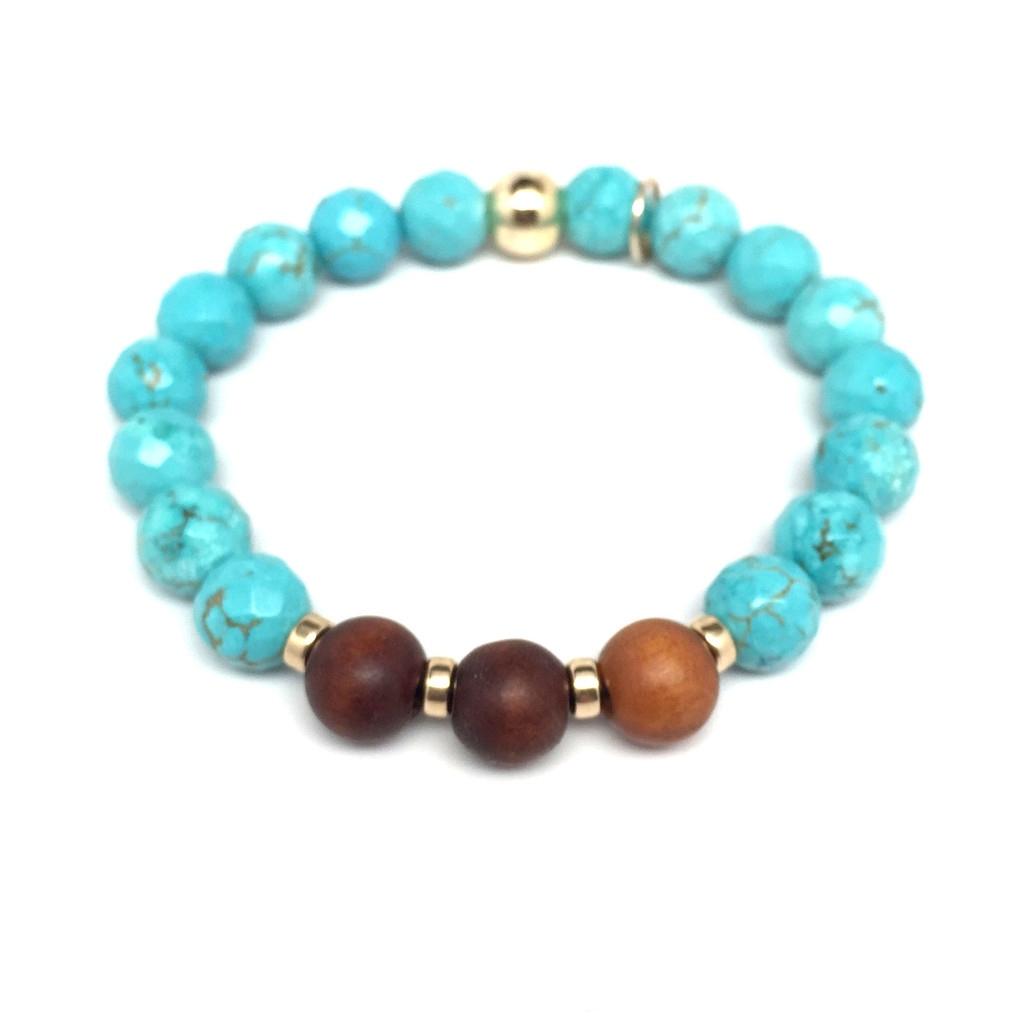 Turquoise Magnesite 'Wonder' stretch bracelet 14k Over Sterling Silver
