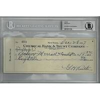 Babe Ruth signed 1937 Chemical Bank  Trust Company Bank Cancelled Check Beckett Encapsulation 10237