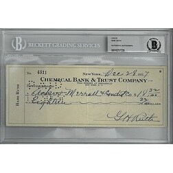 Babe Ruth signed 1937 Chemical Bank & Trust Company Bank Cancelled Check- Beckett Encapsulation #10237229 (GH Ruth)