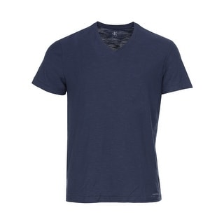 Calvin Klein Jeans Cotton Slub V-Neck T-Shirt Navy Blue Armada Tee Medium M