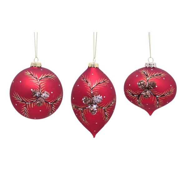 """Club Pack of 12 Cozy and Warm Red Pine Cone Glass Christmas Ornament 5"""""""