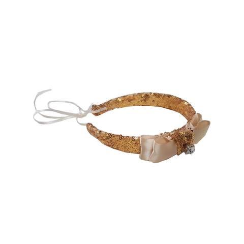 Girls Gold Sequin Bow Rhinestone Headband Diadem - One Size
