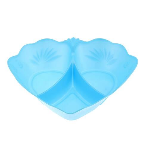 Plastic Heart Design Fruit Vegetable Plate Container Tray Holder Blue