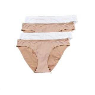 Calvin Klein Women Underwear 4 Microfiber Bikini Panties Nude/White Large