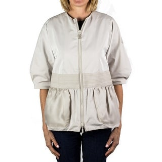 Moncler Gamme Rouge Zip-up 3/4 Sleeve Blouse Jacket Off-White Women's