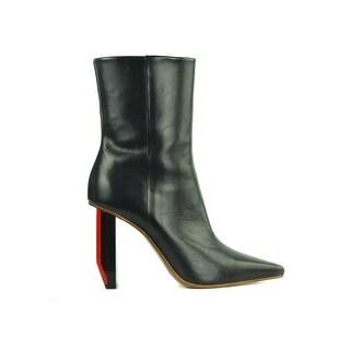 Vetements Women's Black Leather Ankle Reflector Heel Boots