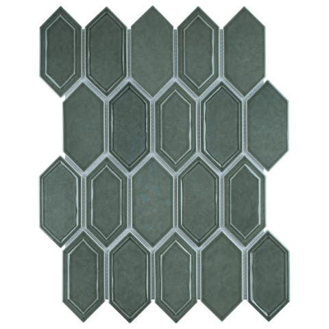 TileGen. Recycle Classic Bianaca Glass Mosaic in Green Wall Tile (10 sheets/8.8sqft.)