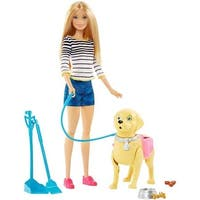 Barbie Dog Walker & Potty Pup with Blonde Doll